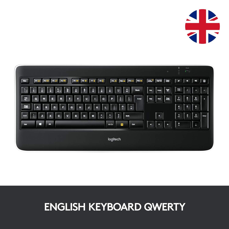 Logitech K800 Illuminated Wireless Keyboard, UK (QWERTY) Layout - Black