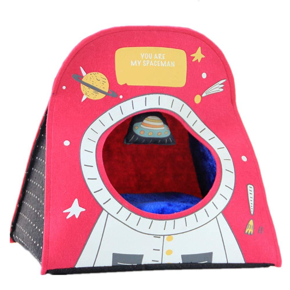 a la venta Mzdpp Cueva De Mascotas De Fieltro Fieltro Fieltro De Lujo Impresión De Astronauta Desmontable Perro Cálido De Otoño E Invierno Cama Nido De Gato 42X30X40 Cm  edición limitada