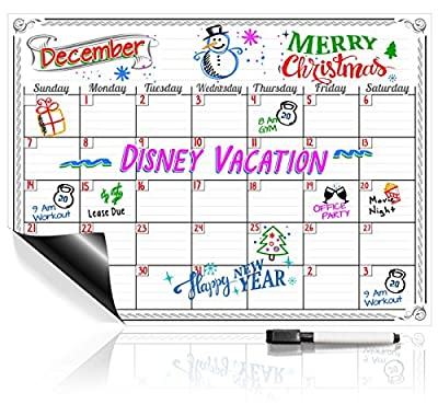 Monthly Weekly Magnetic Dry Erase Calendar + FREE Marker
