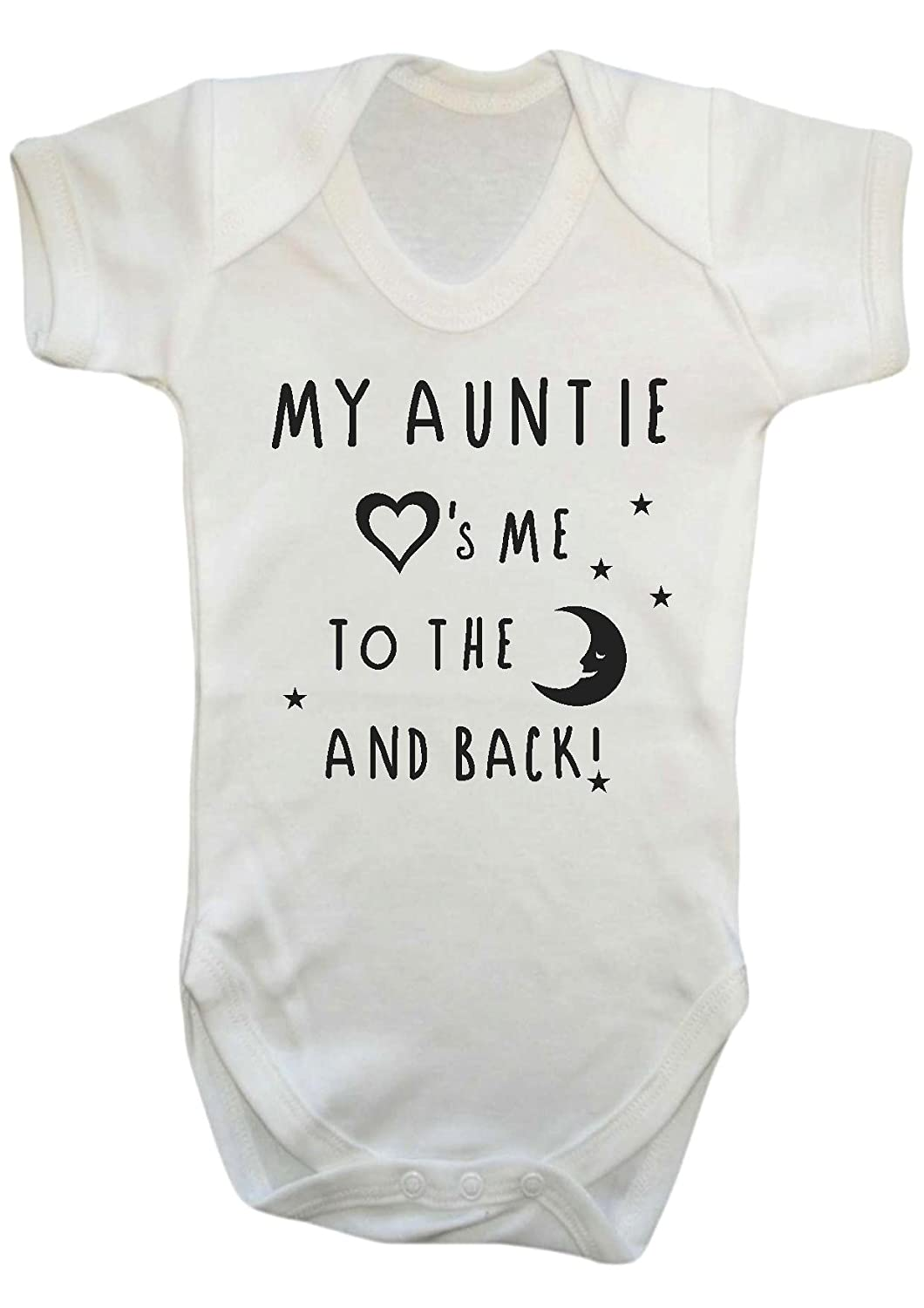 Danni Rose My Auntie loves me to the moon and back baby Vest Bodysuit boy girl (0-3) Dorn Enterprisers LTD