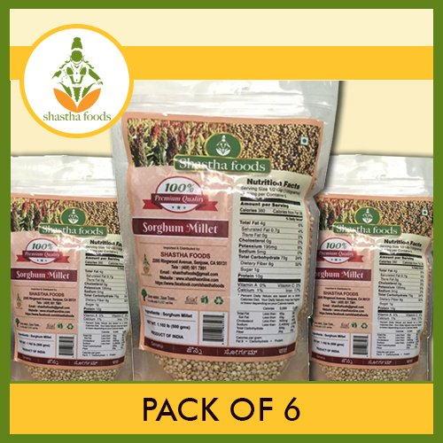 Shastha Sorghum (Cholam) Millet (Pack of 6) Each Pkt 500 Gms by Shastha Foods