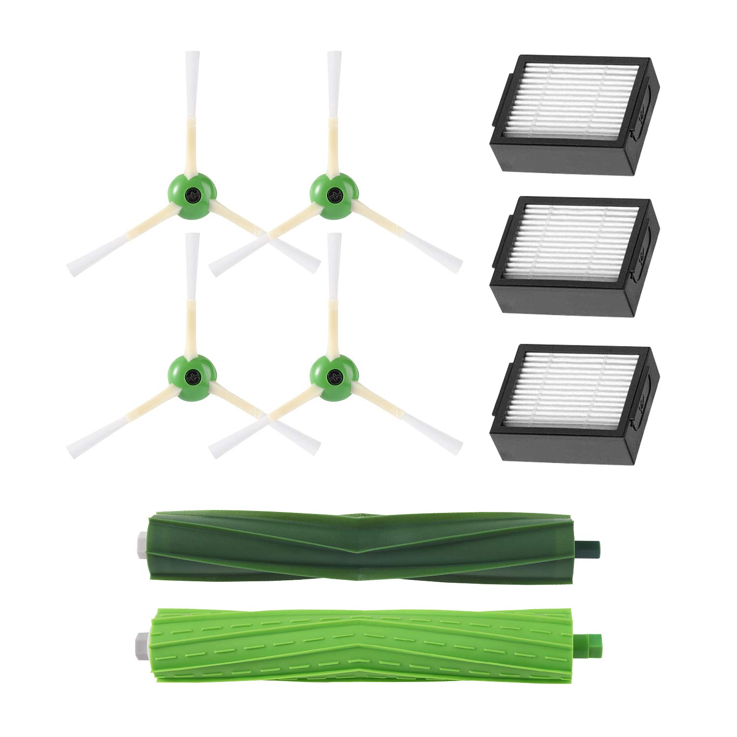 Replacement Parts for iRobot Roomba i7, i7+/Plus, E5, E6 and E7 Robot Vacuum Cleaner Replenishment Kit(3 High-Efficiency Filters, 4 Edge-Sweeping Brushes, 1 Set of Multi-Surface Rubber Brushes) by Alonyi