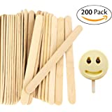 "Acerich 200 Pcs Craft Sticks Ice Cream Sticks Wooden Popsicle Sticks 4-1/2"" Length Treat Sticks Ice Pop Sticks"