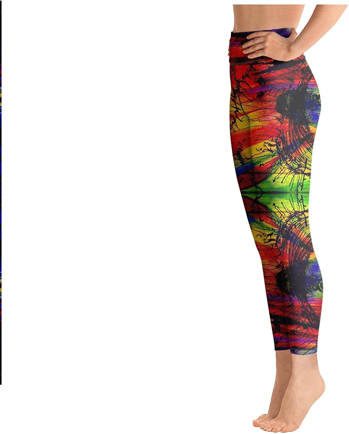 Yoga Pants with Pockets for Womens Workout Capris Trippy Art Backgrounds High Waist Tights for Girls