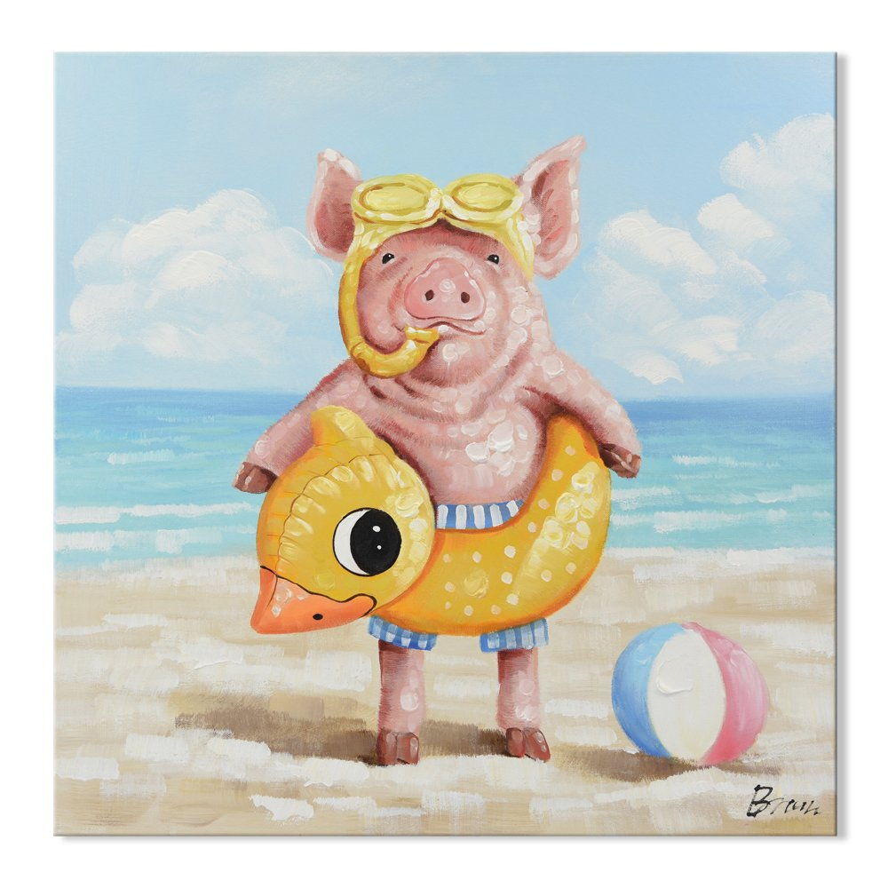 SEVEN WALL ARTS 100% Hand Painted Oil Painting Cute Animal Painting for Living Room Kids Room Decor Ready to Hang 32 x 32 Inch (Baby Pig, 32 x 32 Inch)