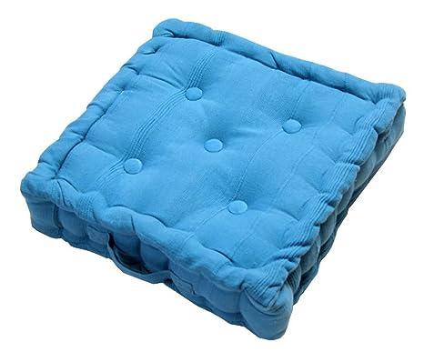 Homescapes cojín acolchado para suelo, relleno de poliéster y tapizado al 100% en algodón, color Azul 40 x 40 x 10 cm