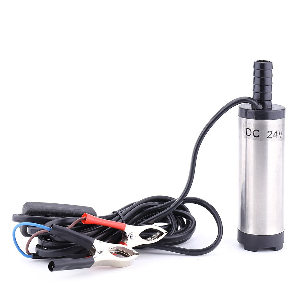 Submersible Pump 38mm Stainless Steel Portable Electric Refueling Tool for Water Diesel Oil Kerosene Transferring with Removable Filter Device(24v Silver)