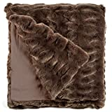 Fabulous Furs: Faux Fur Luxury Throw Blanket, Taupe Mink, Available in generous sizes 60''x60'', 60''x72'' and 60''x86'', by Donna Salyers