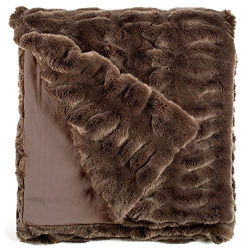 "Fabulous Furs: Faux Fur Luxury Throw Blanket, Taupe Mink, Available in generous sizes 60""x60"", 60""x72"" and 60""x86"", by Donna Salyers -  Donna Salyers' Fabulous Furs, 11014 TAU"