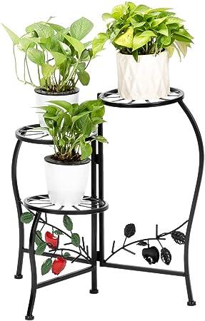 3 Shelf Metal Plant Stand Decorative Display Planter for Indoor//Outdoor Plants