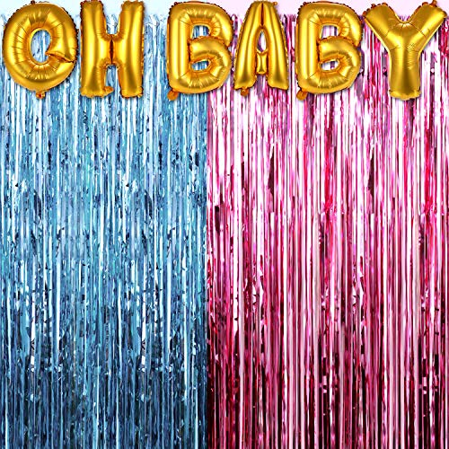 Zhanmai 2 Pieces Metallic Tinsel Foil Fringe Curtains Gender Reveals Tinsel Curtains with Oh Baby Balloons for Baby Shower Party Decoration