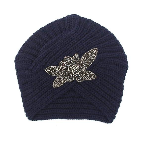... Invierno Cuatro Hojas Cuentas De Lana De Flores Sombrero Indio Sombrero Diadema De Punto Crochet Boina Gorro Gorra 1PCS: Amazon.es: Ropa y accesorios