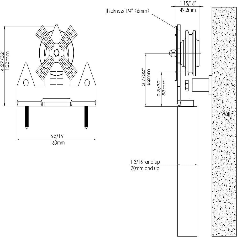 Rodillo para puerta corredera, acabado negro mate, con acabado rugoso, para colgar en la parte superior, molinillo de viento: Amazon.es: Bricolaje y herramientas