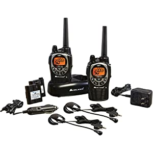 Midland - GXT1000VP4, 50 Channel GMRS Two-Way Radio - Up to 36 Mile Range Walkie Talkie, 142 Privacy Codes, Waterproof, NOAA Weather Scan + Alert (Pair Pack) (Black/Silver)