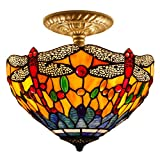 12C Tiffany Ceiling Light Fixture Semi Flush Ceiling Lamp 12 Inch Stained Glass Shade for Dinner Room Pendant 1 Light (S168 Series)
