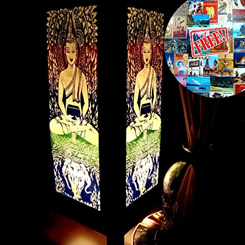 Green Buddha Elephant Table Lamp Lighting Shades Floor Desk Outdoor Touch Room Bedroom Modern Vintage Handmade Asian Oriental Wood LED Bedside Gift Art Home Garden Christmas; Free Adapter; Us 2 Pin Plug #110
