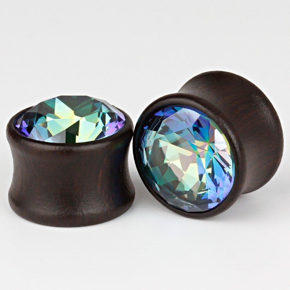 8mm TBOSEN 5 Pairs Gauge Wood Tunnels Earrings Zircon Stone Body Jewelry Set Stretching Tapers Expanders Wooden Ear Plugs Gauge 0g
