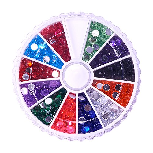 PandaHall Elite About 780Pcs 1 Box 12 Color 4mm Faceted Flat Round No Hot Fix Acrylic Rhinestones Glitter Decorations 3D Diamond Gems for Cell Phone Nail (3d Acrylic Nail Art Halloween)