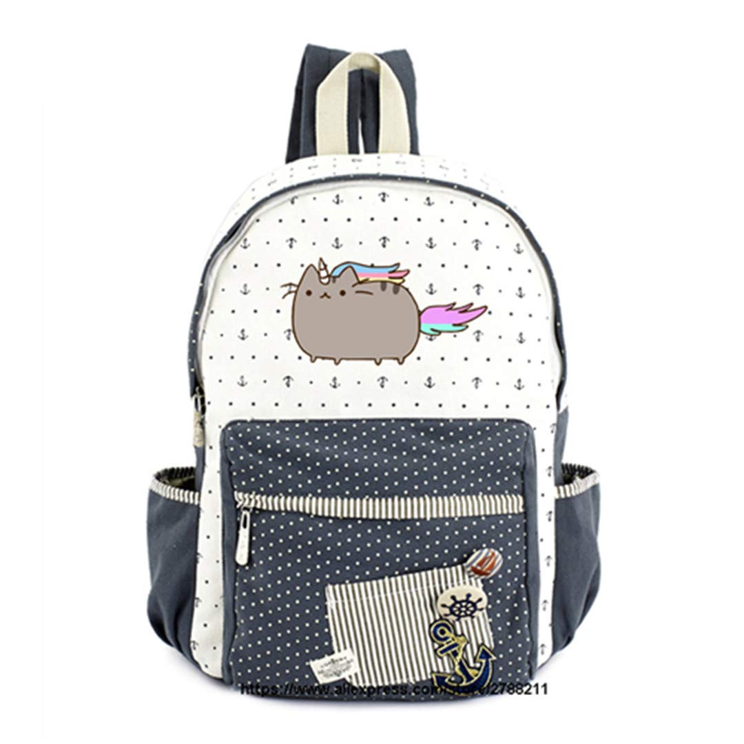 Fat Cat Canvas Teen Girl Student Travel Shoulder Bag by Boygirl