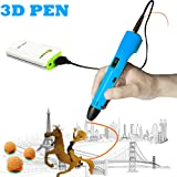 3D Pen For Kids ,Newest 3D Printing Pen Compatible ABS PLA Filament, KT-PRASE Portable 3D Printer Drawing Pen LCD Screen Supports Mobile Power (Blue)