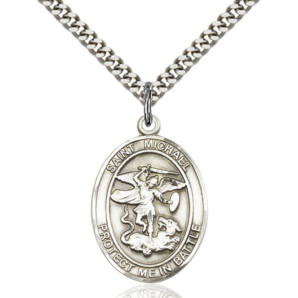 B00P5KP5L4 Sterling Silver St. Michael Pendant 1 X 3/4 inches with Heavy Curb Chain 61o-ZgAT2BEL