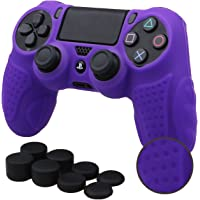 Pandaren Silicone GRIP cover skin case anti-slip for PS4/SLIM/PRO controller x 1(Purple) + FPS PRO extra height thumb grips x 8