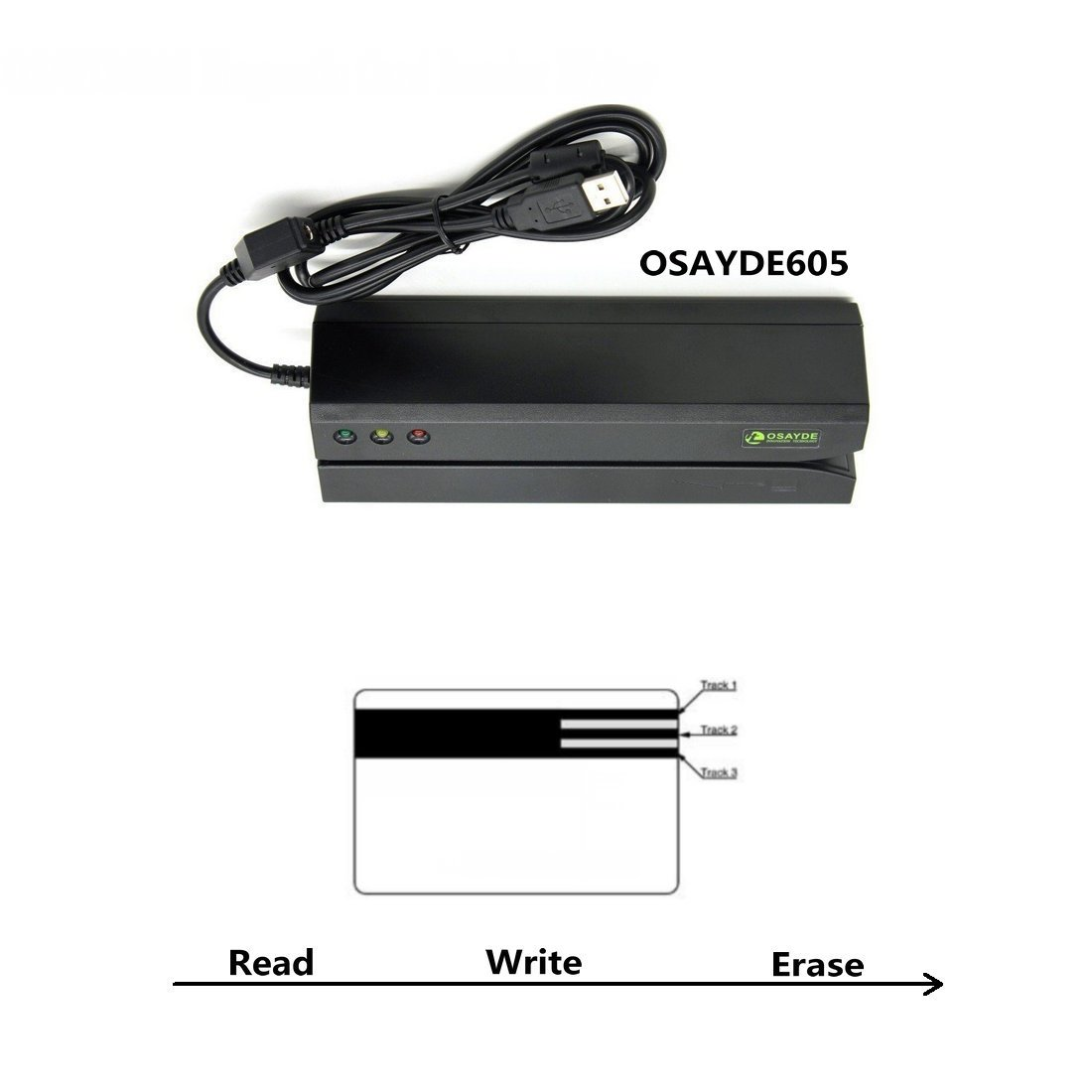 Osayde OSAYDE605 Magnetic Card Reader, 3 Tracks Writer Encoder Scanner, Free Software to Install, Easily Use Credit Card, Debit Card, Gift Card All Magnetic Swipe Card