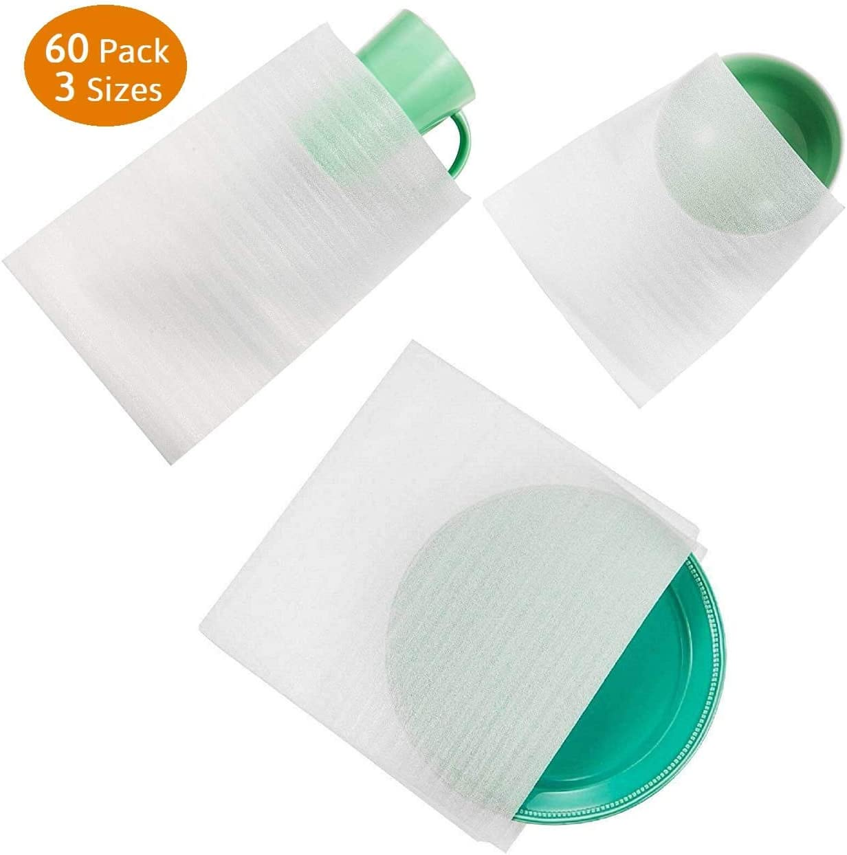 60 Cushion Foam Pouches, Moving Foam Wrap Pouches, Protect Mug, Cup, Glasses, China, and Dishes, Packing Supplies, Packing Cushioning Supplies for Moving: Office Products