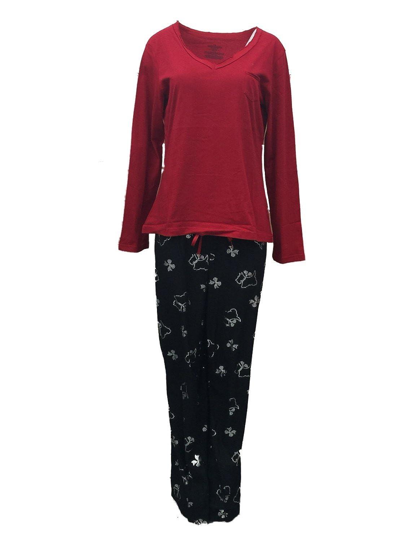 Celestial Dreams Womens Black & Red Scottie Dog Pajamas Fleece Pajama Set