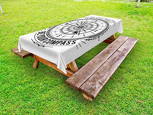Ambesonne Vintage Nautical Tattoo Outdoor Tablecloth, Monochrome Compass Drawing Cardinal Directions Pattern, Decorative Washable Picnic Table Cloth, 58 X 84 Inches, Charcoal Grey and White]()
