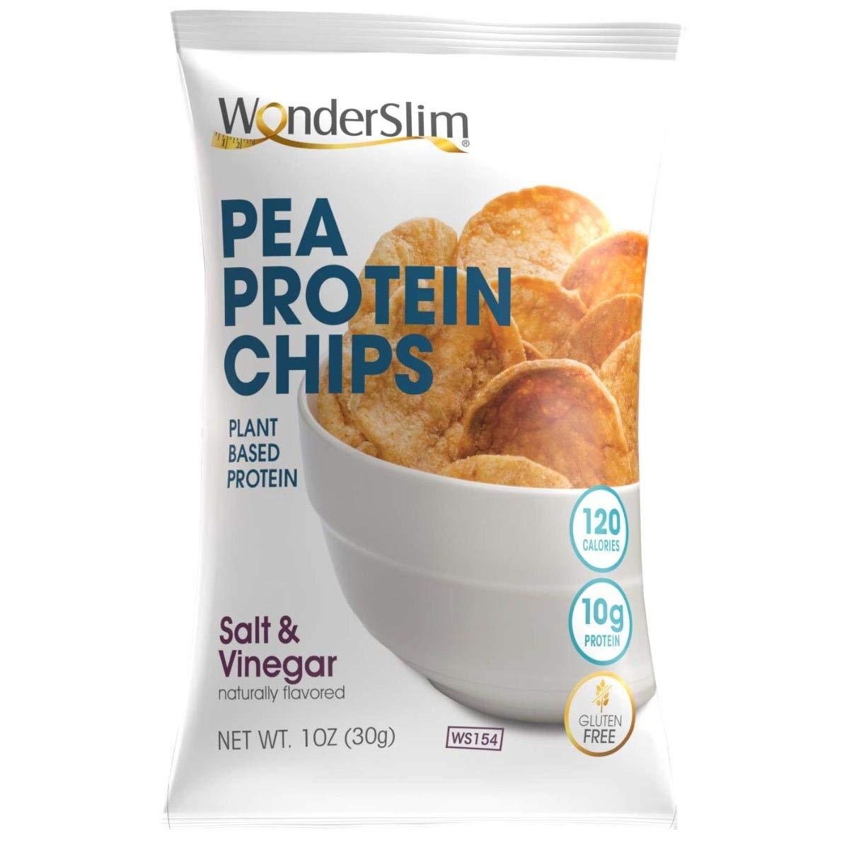 WonderSlim Pea Protein Snack Chips (12g Protein) - Salt & Vinegar - Low-Carb Diet Healthy Protein Snack - Gluten-Free, Vegan (10 Bags)