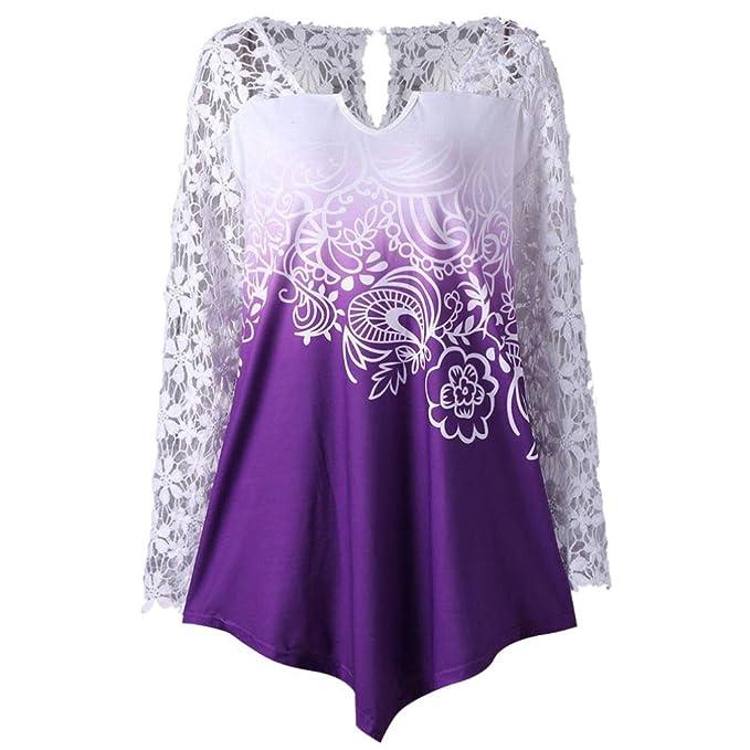 Yannerr talla grande mujer primavera encaje empalme estampado suelta casual manga larga básica inferior camiseta tops