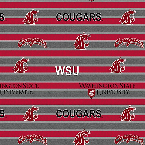 - WASHINGTON STATE FLEECE BLANKET FABRIC- WASHINGTON STATE COUGARS FLEECE FABRIC WITH AWESOME POLO STRIPE=SOLD BY THE YARD