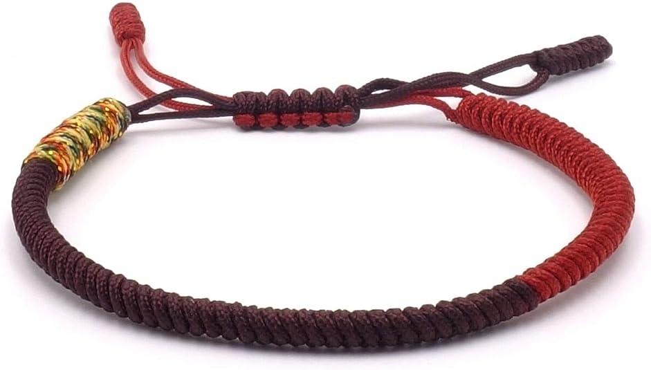 Pulsera tibetana Benava, para hombre y mujer, pulsera budista de tela, trenzada, marrón rojo: Amazon.es: Joyería