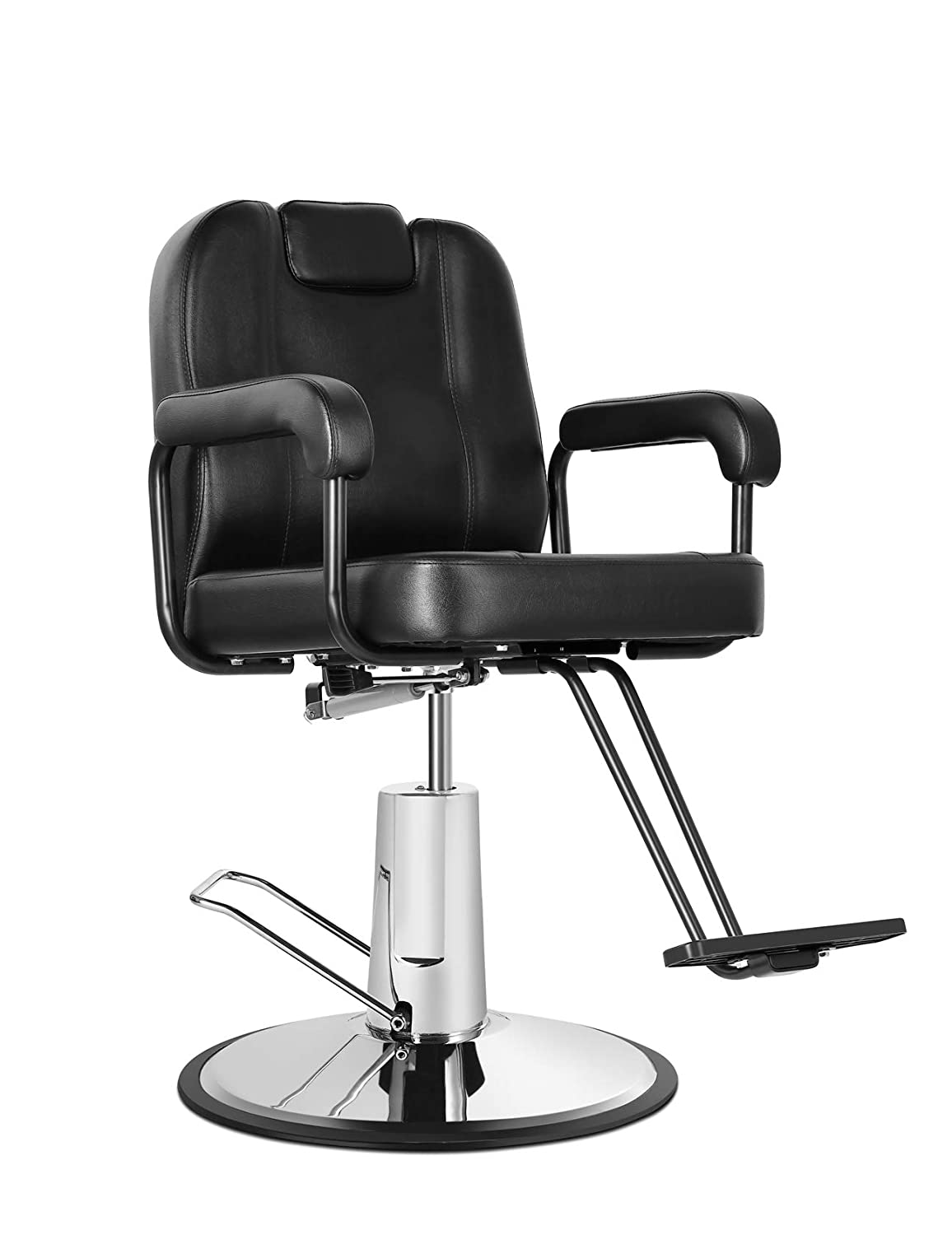 Eastmagic Hydraulic Reclining Salon Chair Barber Chair for Hair Stylist with Movable Headrest Black Beauty Salon Equipment: Kitchen & Dining