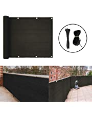 Balcony Privacy Screen Cover Weather-Resistant Black UV Protection Balcony Shield Cover with Cable Ties & Ropes (3'x13.8')