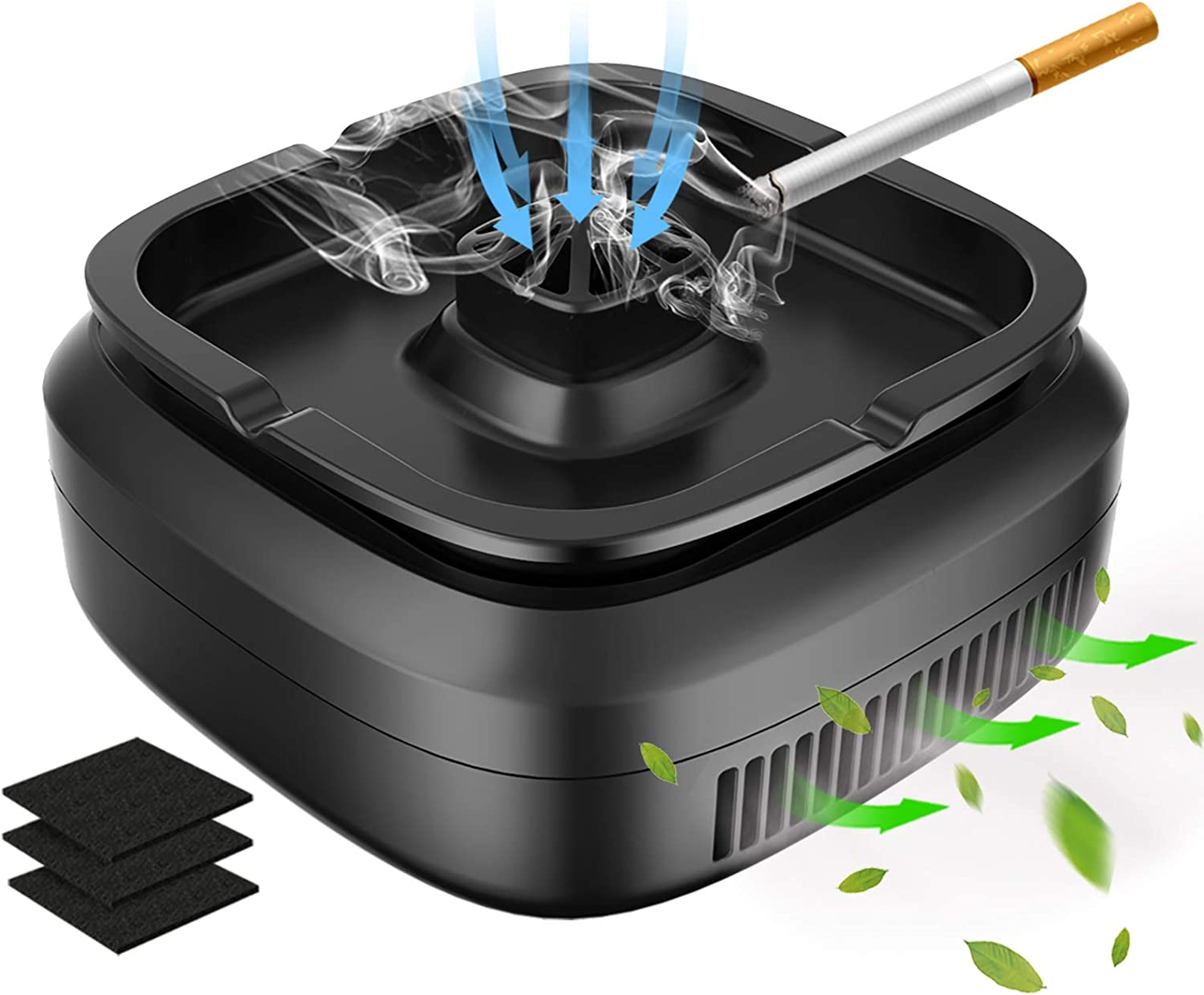 GESPERT Multifunctional Smokeless Ashtray for Cigarette Smoker, USB Rechargeable Smoke Grabber Ash Tray for Indoor Outdoor Home Office Car (Black-4)