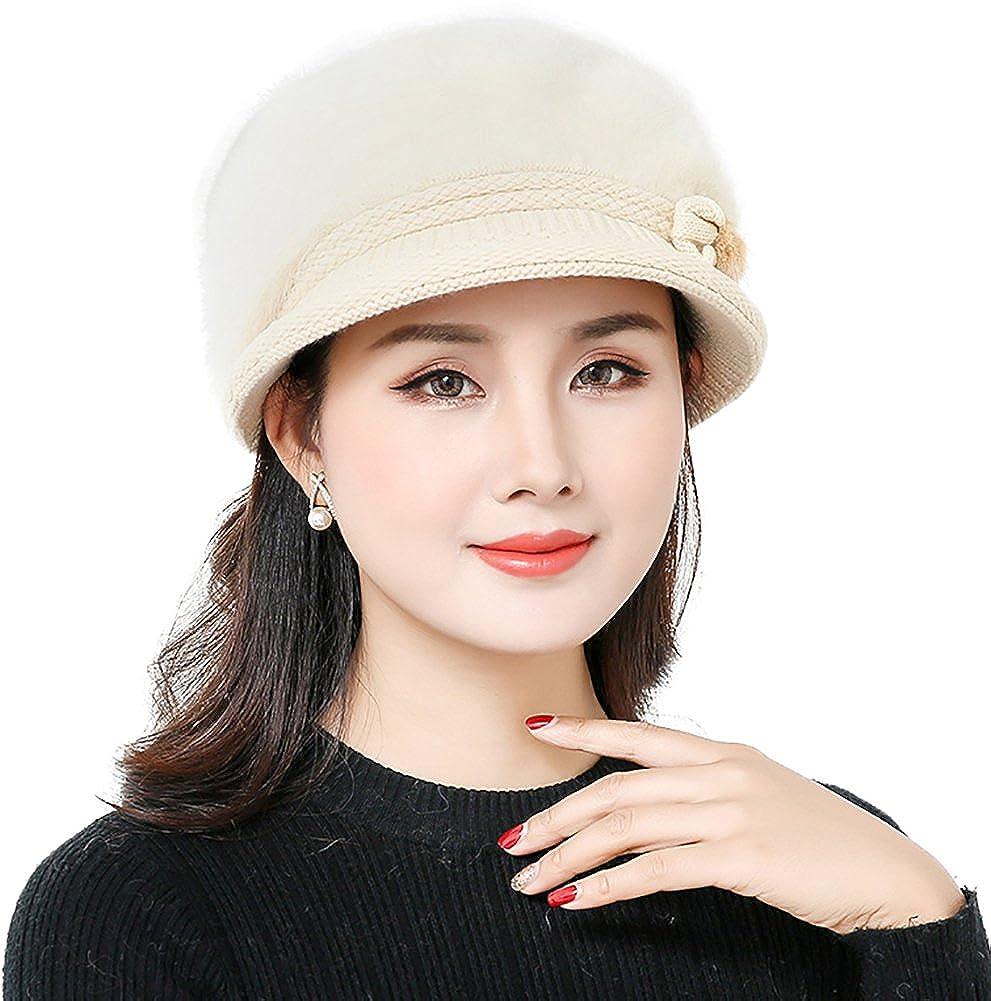 c3a4bb5b09c YI HENG MEI Beanie Hats with Visor Cute Wool Cap Warm Headwear Chemo Cancer  Cap for Winter
