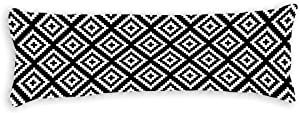 Black and White Geometrical Tribal Body Pillow Cover Pillowcases Cushion with Hidden Zipper Closure for Sofa Bench Bed Home Decor 20