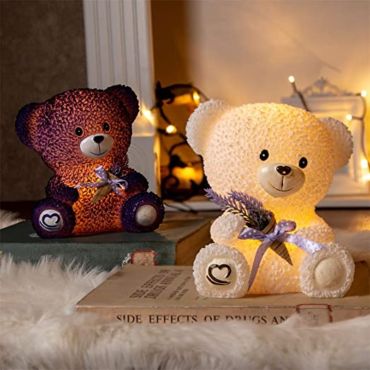 Vanthylit Set of 2 Lovely Bear Electronic Candle Handmade with Real Wax Flameless Candle with Timer Animal-Shaped Table Lamp for Gift to Lover Mother s Day Decor