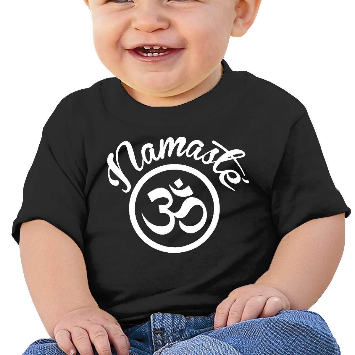 JVNSS Namaste with Om Symbol Baby T-Shirt Infant Boy Girl Cotton T Shirts Soft Clothes for 6M-2T Baby