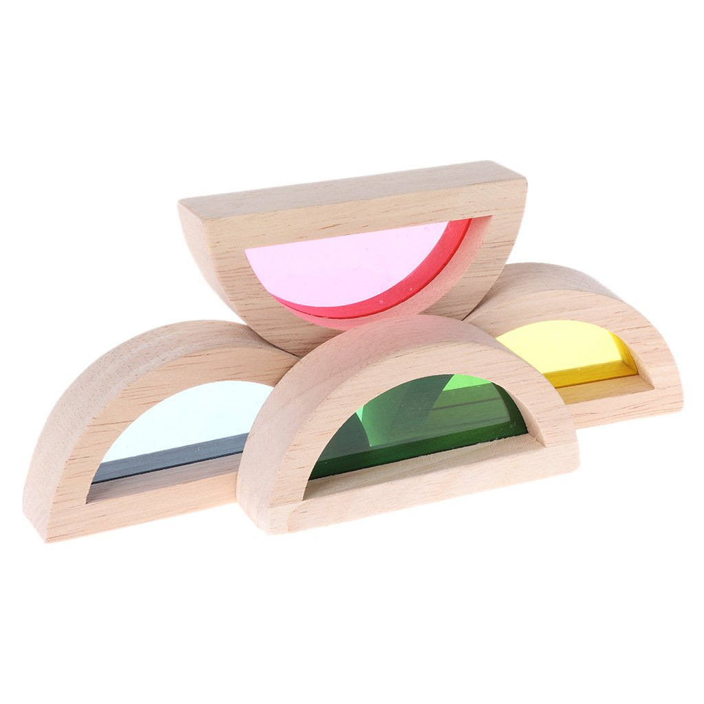 JAGENIE Rainbow Bloques de construcción de Madera acrílica ...