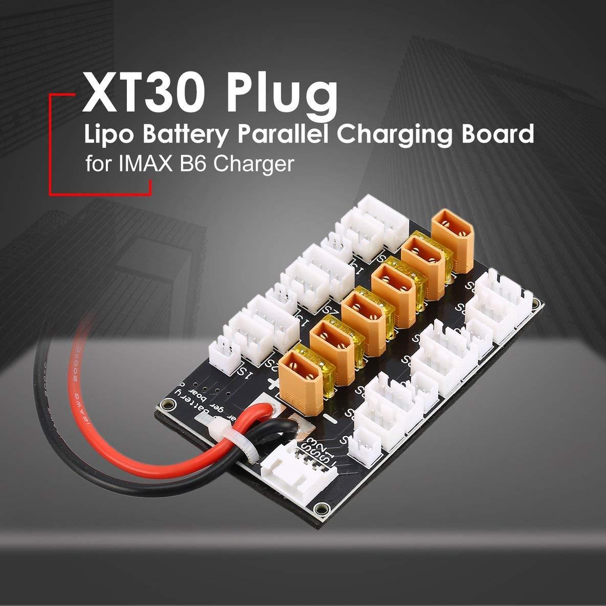 Rouku 6 Paquetes XT30 1S-3S 20A XT30 Plug Lipo Bater/ía Placa de Carga paralela para Cargador B6 Car Drone Balance Equilibrio Parte de Carga