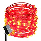 ER CHEN(TM) Solar Powered 33ft Copper Wire string light,100led Fairy Starry Lights with Solar Panel for Outdoor Christmas Tree Thanksgiving Decoration Festival Wedding Birthday Party Garden(Red)