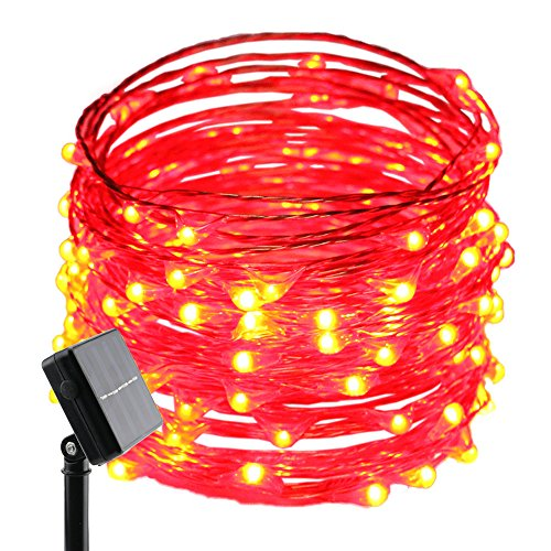 ErChen Solar Powered Copper Wire Led String Lights, 33FT 100 LEDs Waterproof 8 Modes Decorative Fairy Lights for Outdoor Christmas Garden Patio Yard (Red)