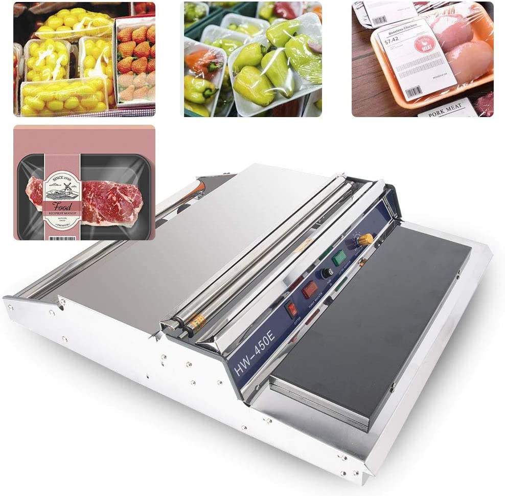 "Sumeve Film Wrapper Machine Manual Wraping machine 18"" Food Fruit Tray Wrapper Hand Film Sealing Packaging Machine 110V 220V (110V) 61o-e7SrdcLSL1000_"