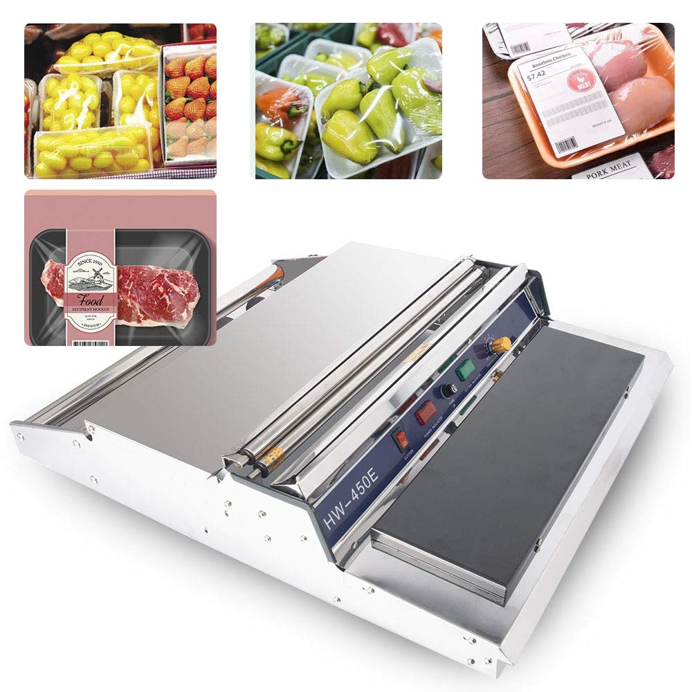 Sumeve Film Wrapper Machine Manual Wraping machine 18'' Food Fruit Tray Wrapper Hand Film Sealing Packaging Machine 110V 220V (110V)