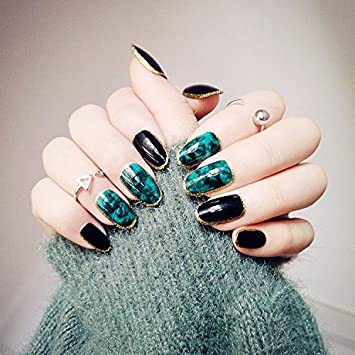 Amazon 24pcs Green Fake Nails Sharp Magic Golden Side Tips For