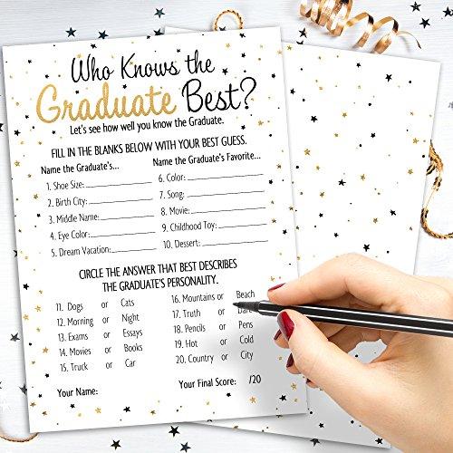 DISTINCTIVS Who Knows Grad Best - Graduation Party Game Cards (25 Count) by DISTINCTIVS (Image #1)