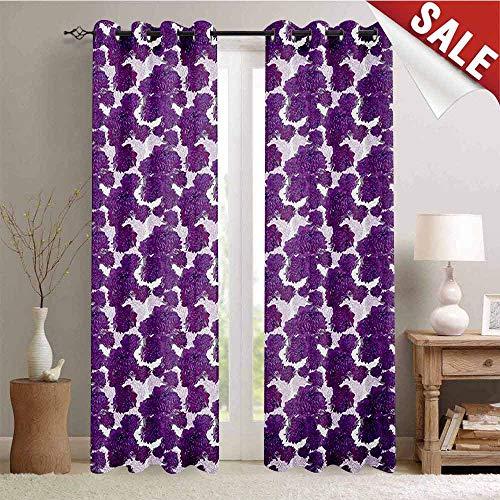 Garden Art, Customized Curtains, Hand Drawn Peony Flowers Flourishing Spring Nature Fresh Vibrant Illustration, Window Curtain Drape, W72 x L108 Inch Purple - Peony Nikkis